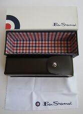 BEN SHERMAN READING SUNGLASS EYEGLASS BROWN CASE SNAP CLOSURE W/MICROFIBER CLOTH