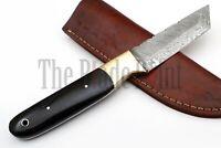 Custom Handmade Damascus Steel Tanto Hunting Knife Bull Horn Handle with Sheath