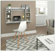 Wall Mounted Home PC Table Desk Computer Study Writing Shelf Storage Unit Grey