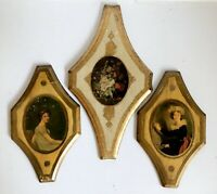 "Wall Plaques 3 Florentine 13"" Toleware Wood Gold Gilded Vtg Italy Women Flowers"