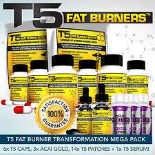 T5 Quemadores De Grasa Mega Bundle-más fuerte Dieta / Pastillas Para Adelgazar + Parches + Detox + Suero