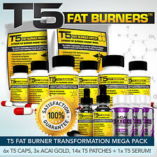 T5 Bruciagrassi Mega Bundle-Più Forte Dieta / Pillole Dimagranti + patch + Detox + SIERO