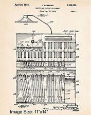 "11""x14"" Hammond Organ Player Gifts Patent Art Print Poster 1934 Church Organist"
