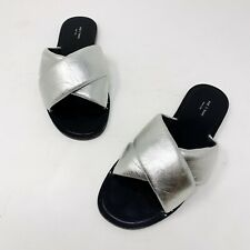 Rag & Bone Size 38 US 8 Silver Metallic Leather Keaton Crossover Slides Sandals