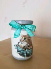 Shabby chic ,little decorative  jar, handmade decoupage, cats
