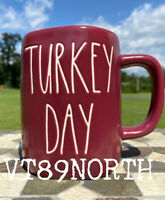 "New RAE DUNN Fall Farmhouse LL ""TURKEY DAY"" Burgundy/Maroon Mug By Magenta"