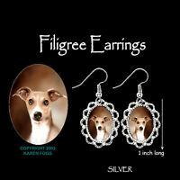 ITALIAN GREYHOUND DOG Fawn - SILVER FILIGREE EARRINGS Jewelry