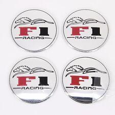 4 x 55mm Alu tapacubos pegatinas f1 racing Design plata llantas de aluminio universal
