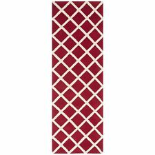 Red / Ivory Hand-Tufted Moraccan Wool Runner Rug 2' 3 x 7'
