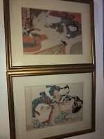 Antique Vintage Japanese Intimate Lovers Shunga Lot Of 2 Woodblock Prints