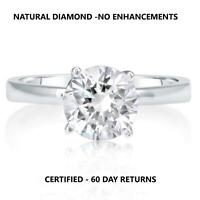 D Vs2 Round Cut Natural Clarity Diamond Solitaire Ring 14K White Gold 1/3 Carat
