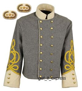 CONFEDERATE SHELL JACKET, STAFF OFFICERS, DOUBLE BREASTED, 34 - 54 SIZES, NEW