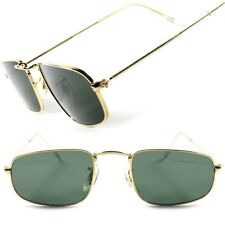 Classic Vintage Retro 80's Mens Small Air Force Style Rectangle Gold Sunglasses
