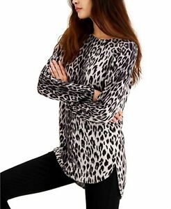 INC Womens Sweater Gray Size XL Leopard-Print Tunic Pullover Boat-Neck $59 477