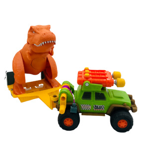 Matchbox Dino Trapper Trailer - Jeep with Trailer and T-Rex Dinosaur