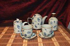 Blue & Grey Porcelain Asian Tea Set, Pot, Creamer, Coffee Cups, Tea Cups Marked