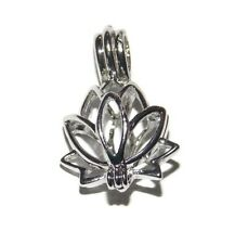 Lotus Blossom Bead Cage Pendant Fits 6.5mm Bead or Pearl - Wish / Scented Locket