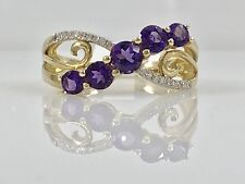 Genuine Amethyst & Diamond Solid 10k Yellow Gold Ring, Size 7, New
