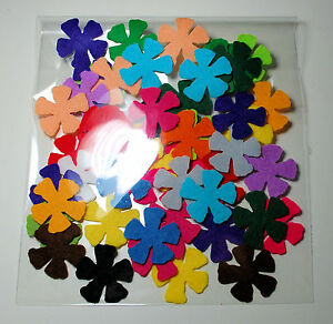 100 Die Cut Small Felt Flowers Multi Colour Trimmings  Embellishments Toppers