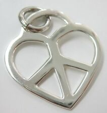 """REAL 925 Sterling Silver """"HEART PEACE SIGN"""" Pendant Necklace - TEEN GIRL WOMEN"""