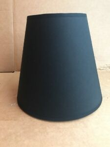 "Clip-on Lamp Shade Black, Round Tapered 7.5"" Tall Cloth Fabric W/ White Inside"