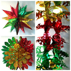 LARGE CHRISTMAS XMAS FESTIVE HANGING CEILING FAN FOIL DECORATIONS GREEN/RED/GOLD