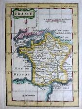 FRANCE  MINIATURE COPPER  ENGRAVED MAP BY TERRY / TURNER GENUINE ANTIQUE  c1792