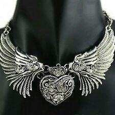 Rhinstones Silver Collar Choker Angel Wings heart Pendant Necklace