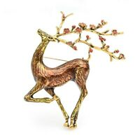 Large Sized Vtg Style Gold Tone CZ Floral Antlers Deer Pin Brooch Jewellery