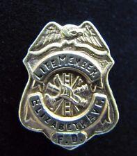 Vintage Elizabeth Ave Fire Department Life Member Badge Pin eagle hook ladder