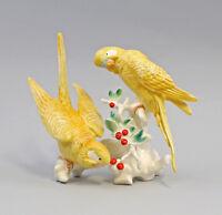 9959362 Porzellan Ens Figur Wellensittich-Paar gelb 16x18cm