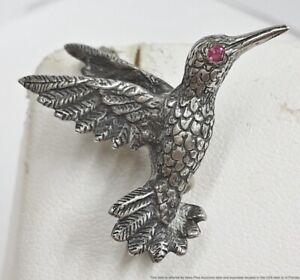 Designer Signed JA James Avery Ruby Eyed Sterling Silver Hummingbird Pin Brooch