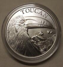 1oz Toucan & Erupting Volcano .999 Fine Silver Round Coin