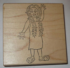 "Woman Wearing Slippers Rubber Stamp EUC Feather Boa Large 4"" High Wood Mounted"