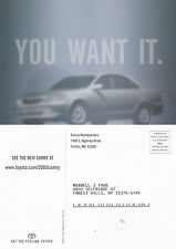 2002 TOYOTA CAMRY YOU WANT IT ADVERTISING COLOUR POSTCARD