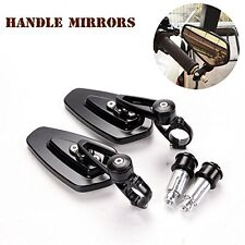 "Motorcycle Billet Universal Black Aluminum 7/8"" 22 Bar End Side Rearview Mirrors"