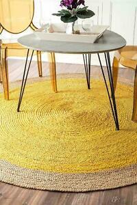 Rug Handmade Natural Jute Braided 4x4 Feet Carpet Home Decor Modern Area Rug