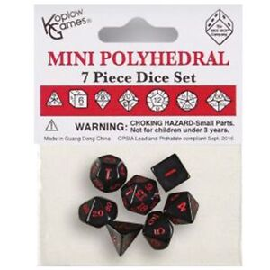 NEW-MINI POLYHEDRAL DICE: OPAQUE - BLACK WITH RED NUMBERS (7CT)