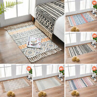 Cotton Bohemian American Style Carpet Handmade Woven Area Mat Rug with Tassels