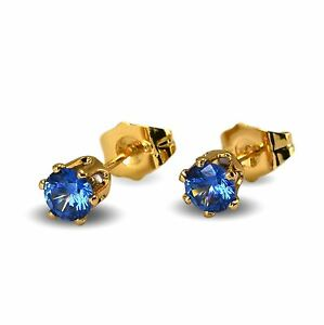 Gorgeous Blue Cubic Zirconia 5mm 18ct Gold Filled Stud Earrings Womens Girls 18K