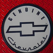 """Genuine Chevrolet Round Steel Sign """"Free U.S.Shipping!"""" Blue & White Clear Coat"""