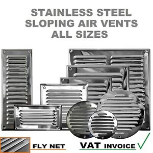 Stainless Steel Louvre Air Vent Grille Cover Metal Duct Ventilation Flat Circle