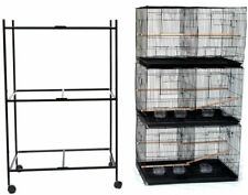 "Lot of 3 Large Bird Breeding Flight Cage 30x18x18""H With Divider Rolling Stand"