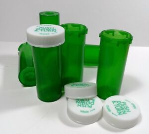 25 New GREEN RX Medicine Plastic Bottles/Caps 8 Dram Size -Free Shipping on 1st