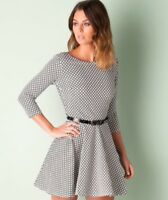 Club L Geo Print Skater Dress 3/4 sleeve Balck white summer party size 14,18