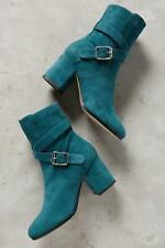 Deimille Womens Eloise Buckled Ankle Boots Teal Green Suede 39 Euro (Women US 8-