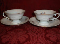 """2 WAWEL """"ROSE SPRAY"""" MADE IN POLAND CUPS AND SAUCERS....EXCELLENT!"""