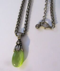 Fashion Necklace & Pendant- oval shape- green faceted stone- silver color