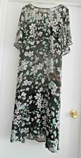 """MARKS & SPENCER"" BEAUTIFUL BLACK FLORAL 2 PIECE MIDI DRESS SIZE 22!!!"