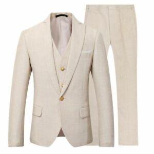3 Piece Men Beige Cotton Linen Suit Groom Tuxedo Wedding Party Prom Dinner Suit